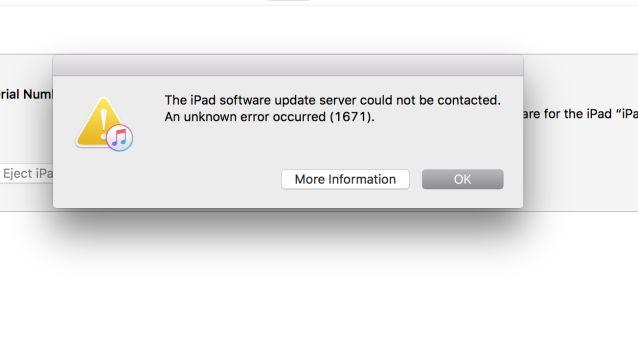 1671 error when updating software