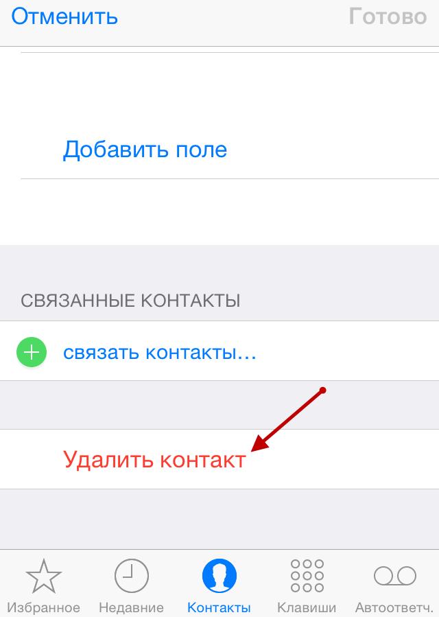 Удаление контакта с iPhone