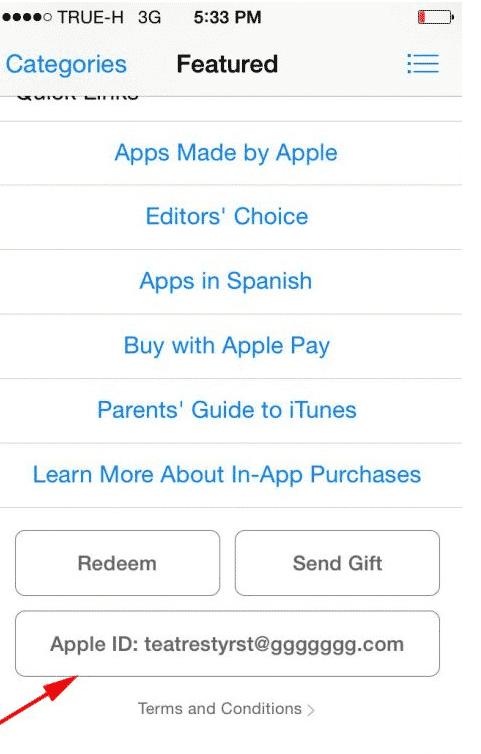 Текущий аккаунт в App Store