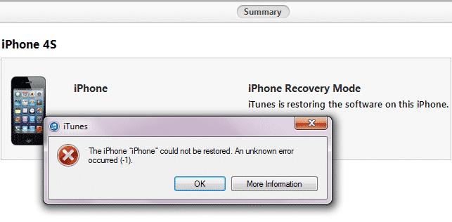 Не удалось восстановить айфон ошибка 1